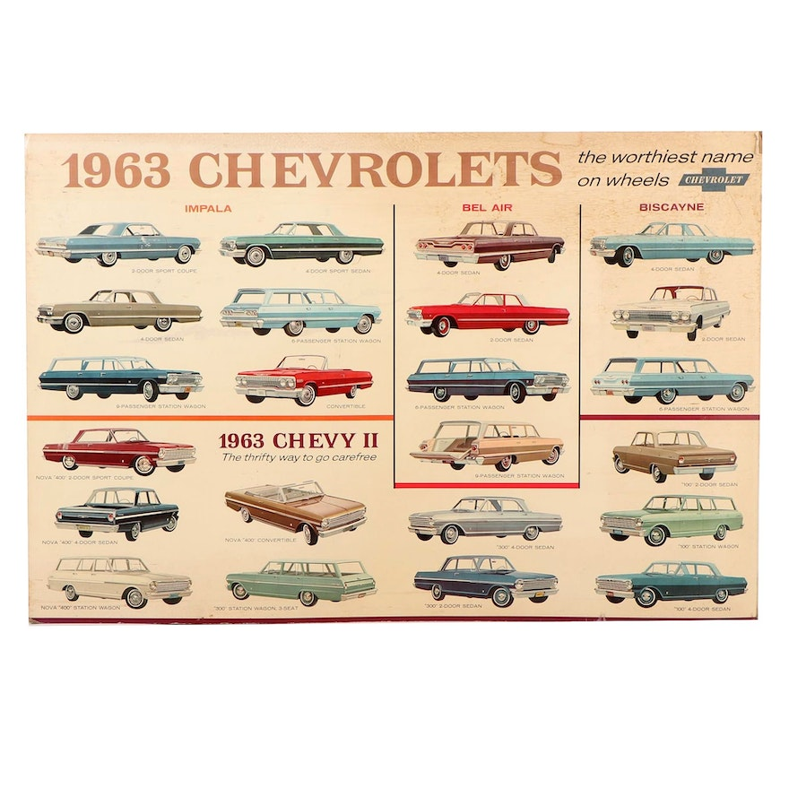 Large Chevrolet Dealership Advertising Off-Set Lithograph Poster, 1963