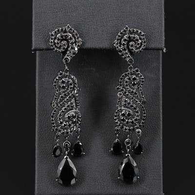 Sterling Silver Cubic Zirconia and Spinel Earrings
