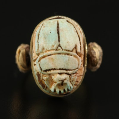 Faience Scarab Ring