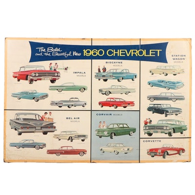 """The Bold and the Beautiful New Chevrolet"" Dealership Advertising Poster, 1960"