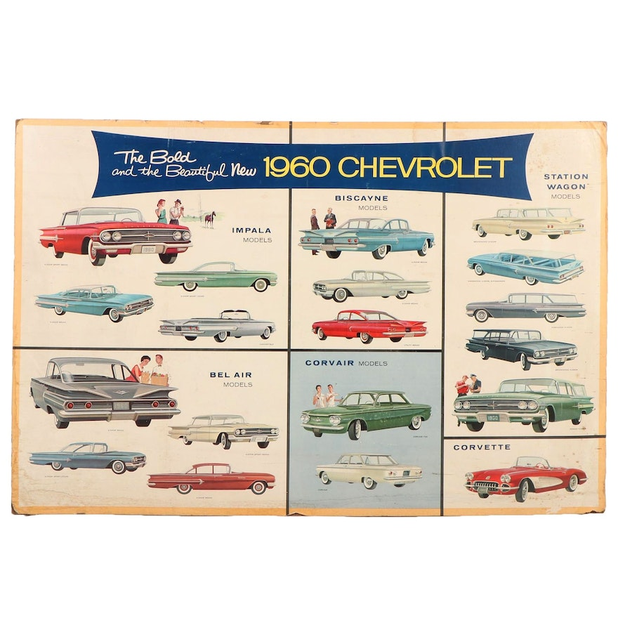 """""""The Bold and the Beautiful New Chevrolet"""" Dealership Advertising Poster, 1960"""