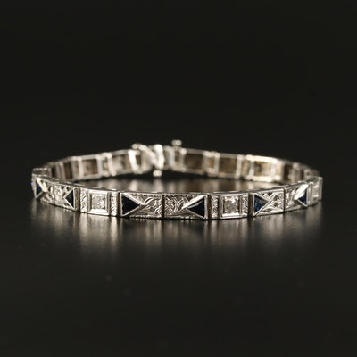 Art Deco 14K Diamond and Sapphire Openwork Bracelet