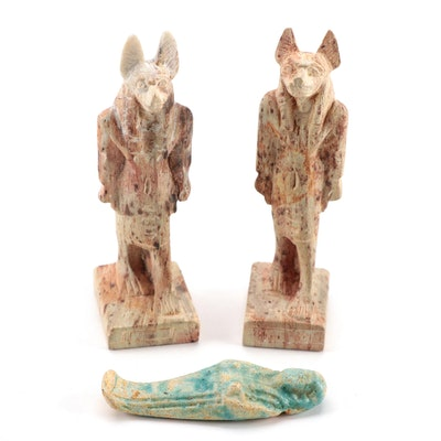 Egyptian Faience Facsimile Shabti Bead and Carved Stone Anubis Figurines