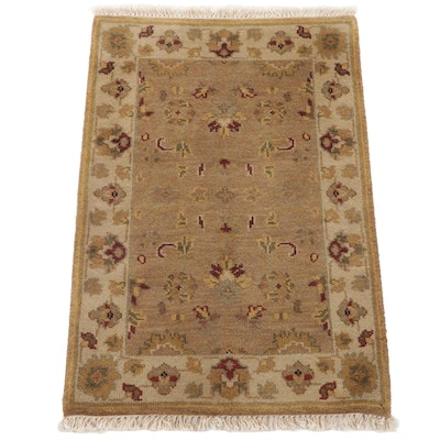 2'1 x 3'3 Hand-Knotted Indo-Turkish Oushak Accent Rug, 2000s
