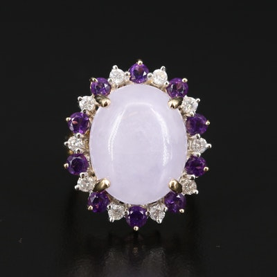 14K Jadeite, Diamond and Amethyst Halo Ring