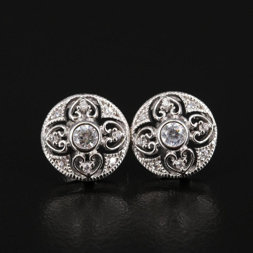 Sterling Silver Cubic Zirconia Milgrain Earrings