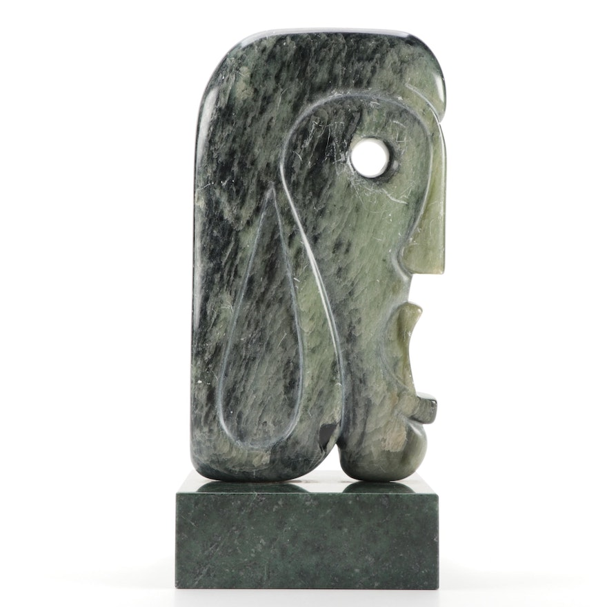 T. Adrian Abstract Carved Soapstone Sculpture