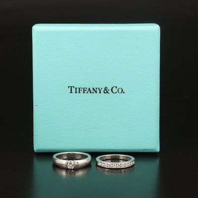 Tiffany & Co. Platinum Diamond Ring Set with Boxes and Diamond Certificate
