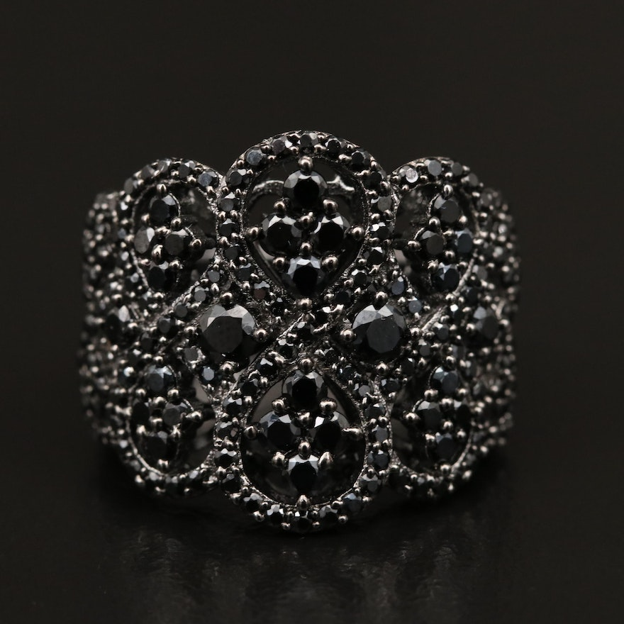 Sterling Spinel Openwork Ring