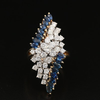 Vintage 10K 1.60 CTW Diamond and Sapphire Pointer Ring
