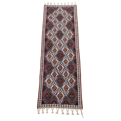 2'3 x 7'11 Hand-Knotted Turkish Caucasian Kazak Kilim Carpet Runner, 1990s