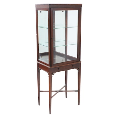 Federal Style Mahogany Display Cabinet-on-Stand, Early to Mid 20th Century