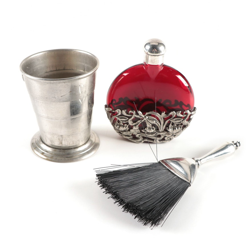 Art Nouveau Ruby Glass Perfume Bottle, Webster Sterling Valet Brush, and More