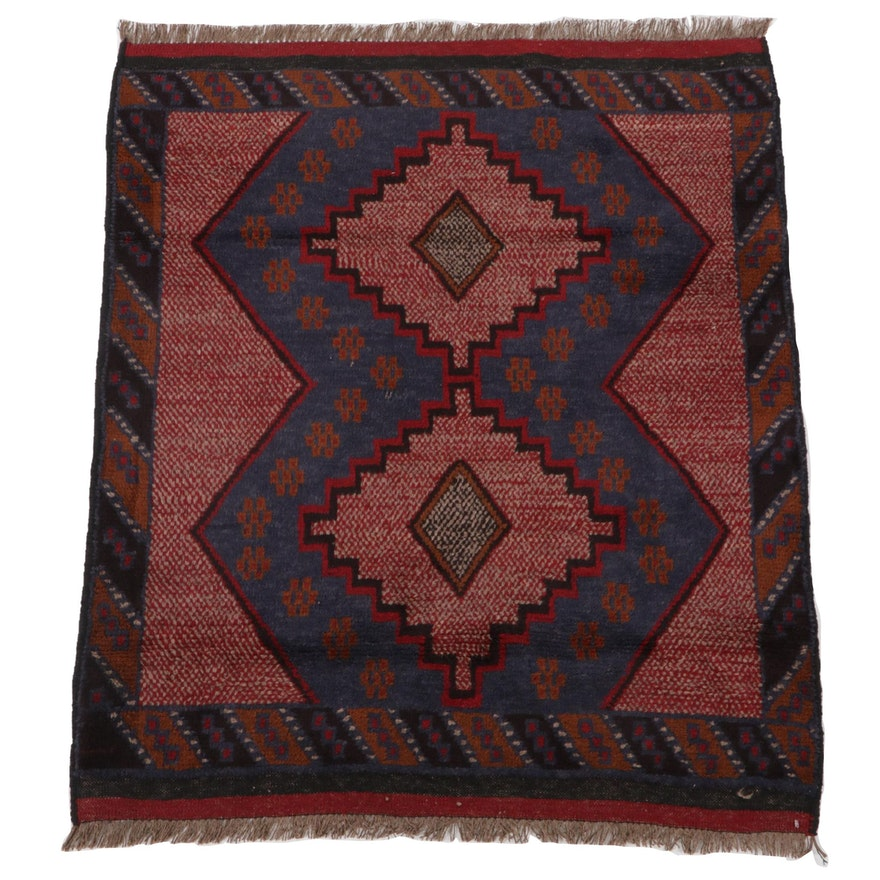 3' x 4'1 Hand-Knotted Afghan Baluch Accent Rug, 2000s