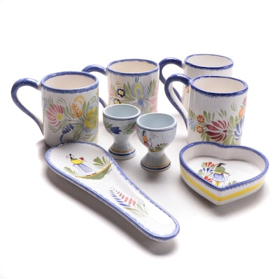 Henriot Quimper Hand-Painted Faïence Mugs and Other Tableware, Late 20th Century