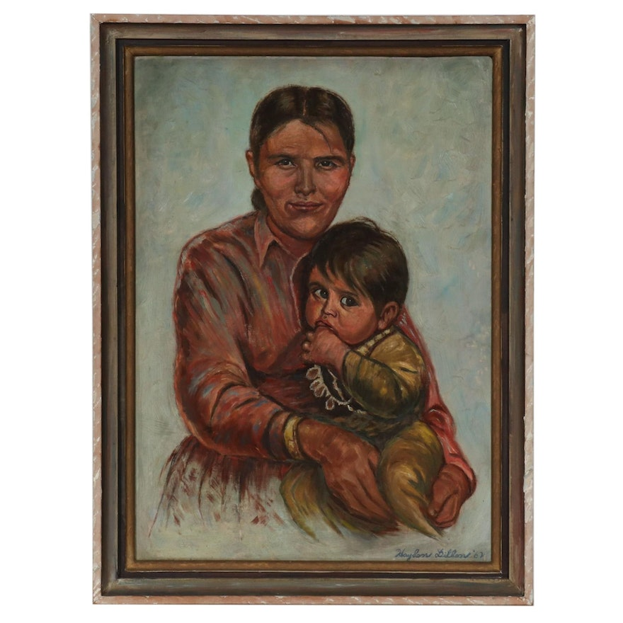 Hayden Dillon Portrait Oil Painting of Mother and Young Child, 1962
