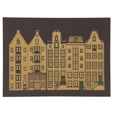 Giclée of Apartment Street Scene, Late 20th Century