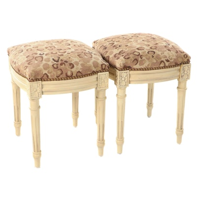 Pair of Louis XVI Style Painted Wood Stools with Leopard Print Needlepoint Seats