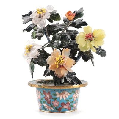 Chinese Stone Flowers in a Cloisonné Vase, Mid to Late 20th Century