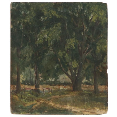 Landscape Oil Painting of Oak Trees, circa 1930