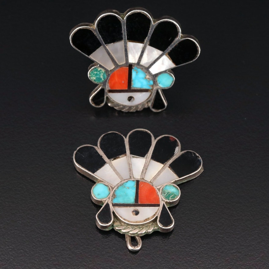 Western Sterling Ring and Pendant Set with Coral, Mother of Pearl and Turquoise