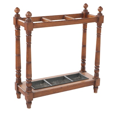 Victorian Oak Umbrella Stand with Drip Tray, Early 20th Century
