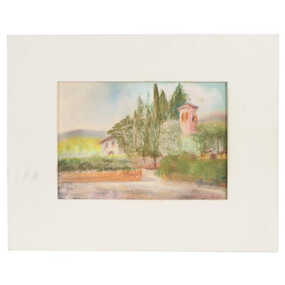 Haldane Douglas Pastel Landscape Drawing, Late 20th Century