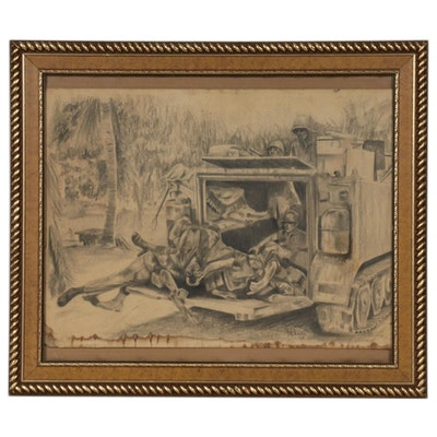 "George Chaine Charcoal Drawing ""Aftermath,"" 1968"