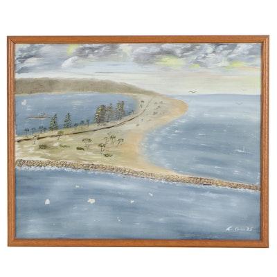 Coastal Landscape Acrylic Painting of Sand Key, 1985