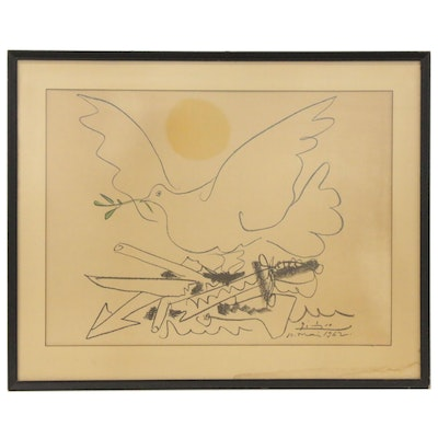 "Color Lithograph after Pablo Picasso ""Dove of Peace,"" Late 20th Century"