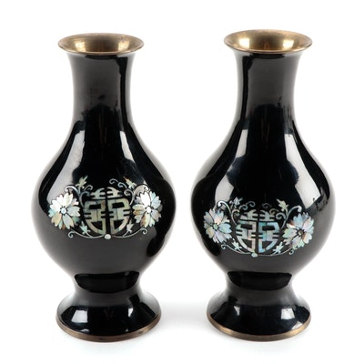 Chinese Taoist Blessing Motif Enameled Brass Vases with Abalone Inlays