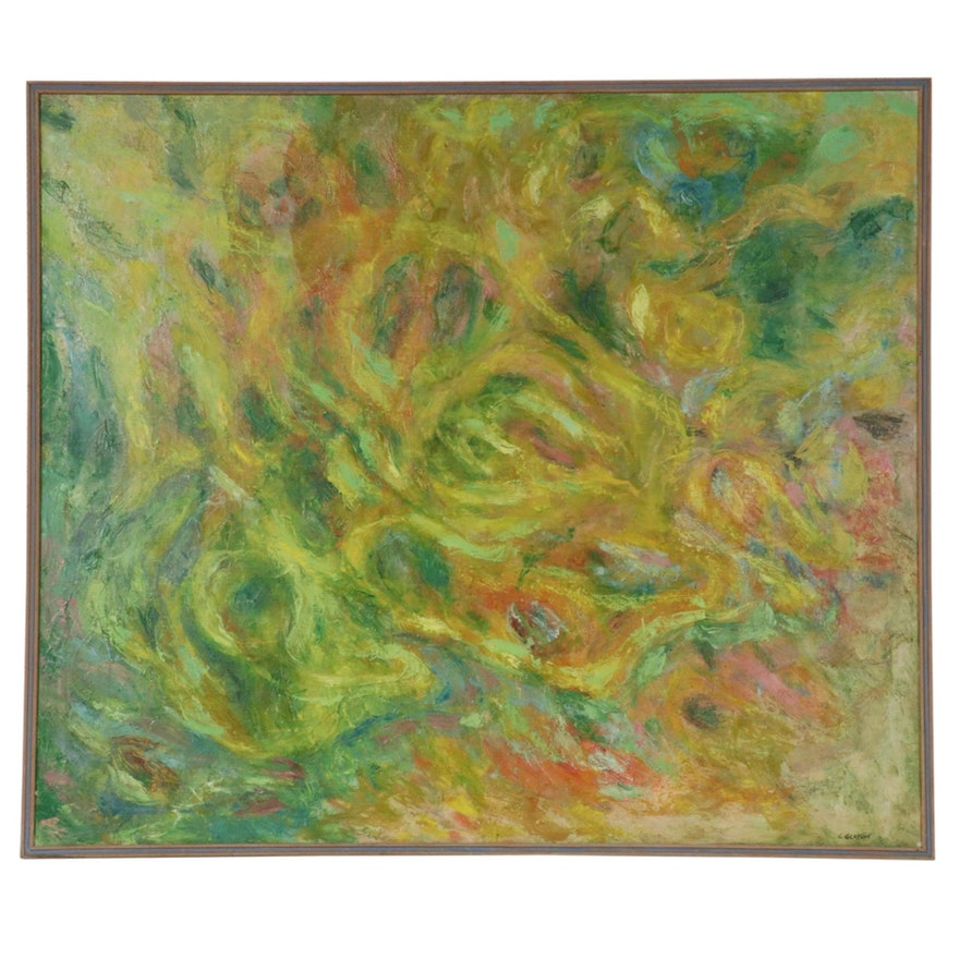"""Abstract Oil Painting """"Waterscape in Yellow,"""" late 20th Century"""