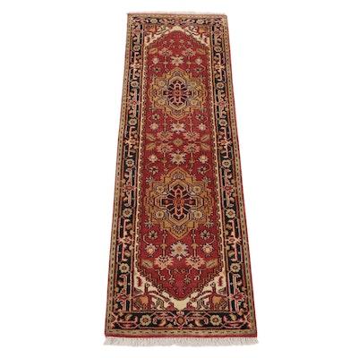 2'6 x 8'6 Hand-Knotted Indo-Persian Heriz Serapi Carpet Runner, 2010s