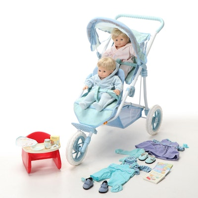 """American Girl """"Bitty Twins"""" with Double Stroller and Accessories"""