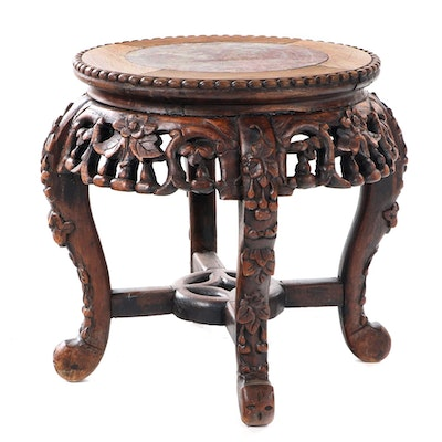 Chinese Carved Hardwood and Variegated Marble Stand