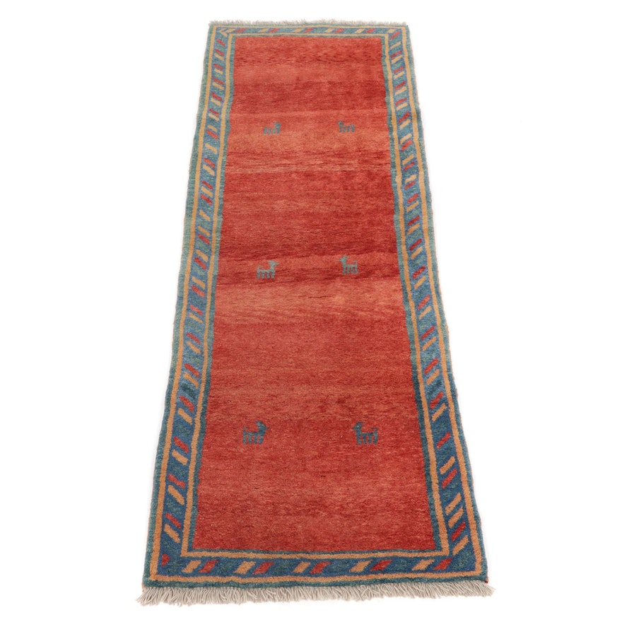 3'5 x 9'11 Hand-Knotted Persian Gabbeh Pictorial Carpet Runner, 1980s