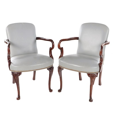 Pair of Hancock & Moore Mahogany Leather Upholstered Armchairs
