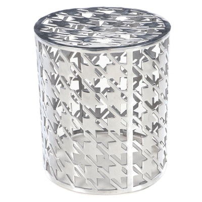 Contemporary Houndstooth Pattern Chrome Drum End Table