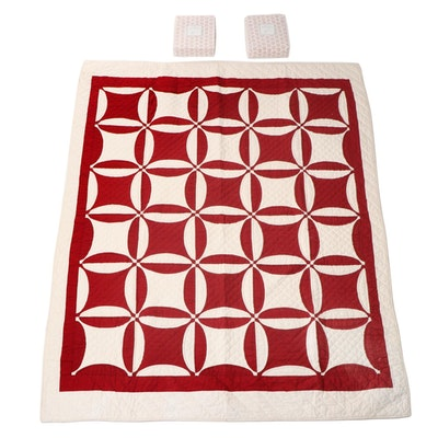 """L.L. Bean """"Rustic Red"""" Twin Bed Sheet Sets with Pottery Barn Red and White Quilt"""