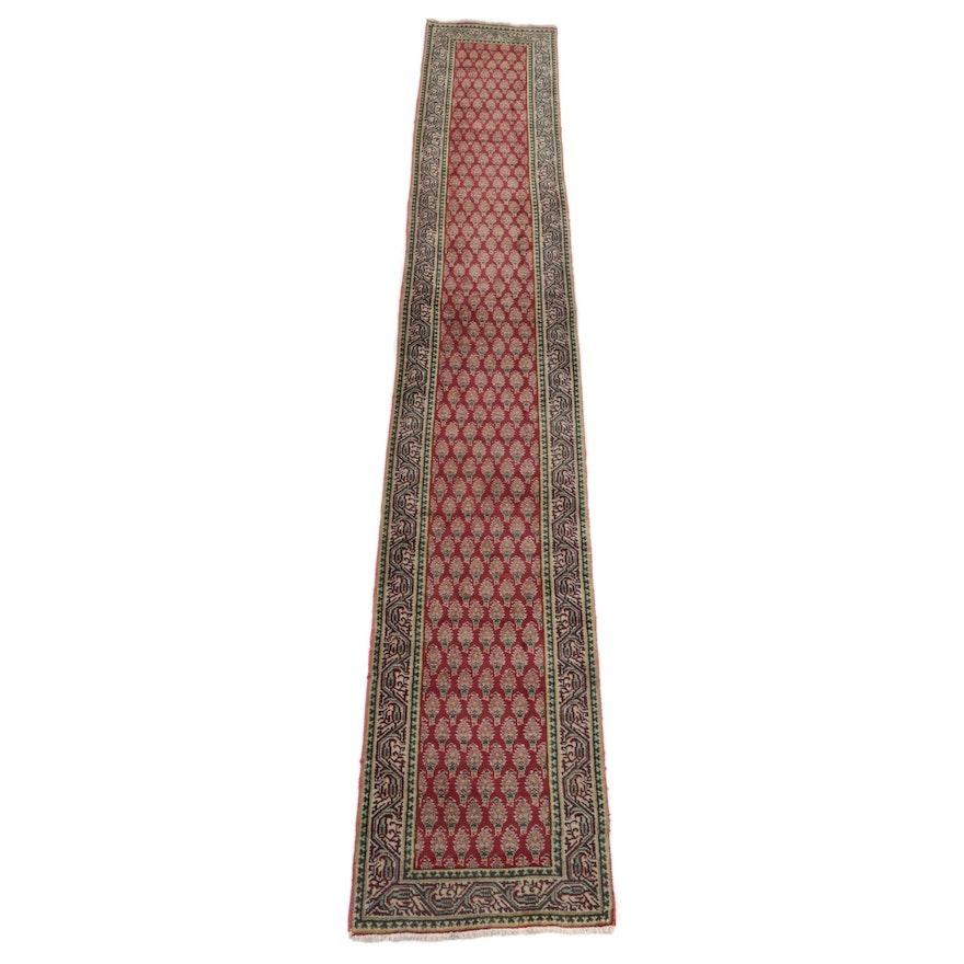 2'6 x 15'10 Hand-Knotted Persian Tabriz Mir Carpet Runner, 1970s