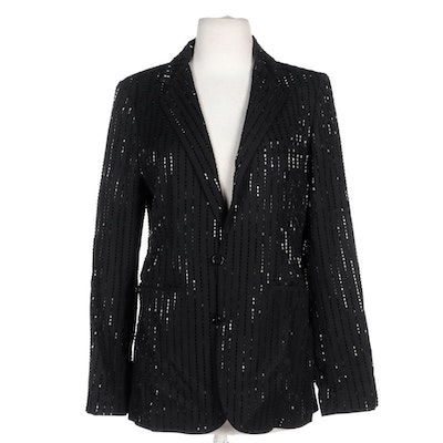 Ralph Lauren Purple Label Black Wool Sequined Jacket