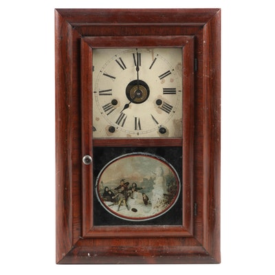 Seth Thomas Mahogany Ogee Mantel Clock with Transferred Winter Scene on Glass