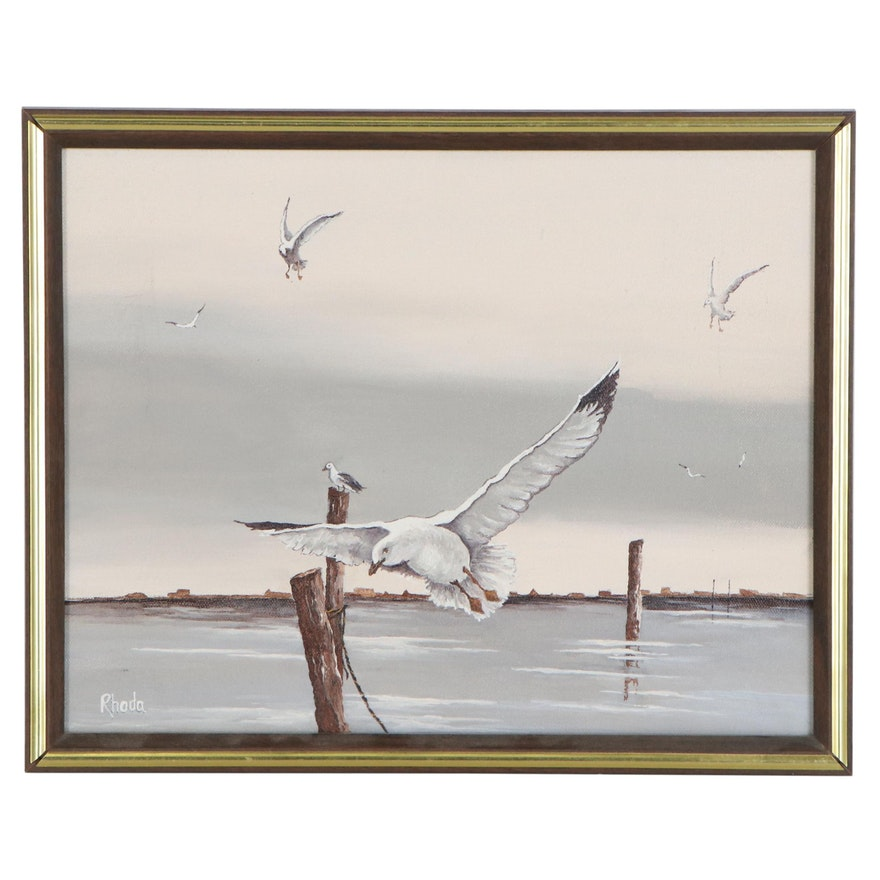 Seascape Oil Painting with Seagulls, Late 20th Century