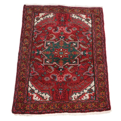 3'6 x 4'9 Hand-Knotted Persian Heriz Accent Rug, 1970s