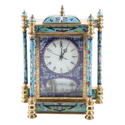 Chinese French Empire Style Cloisonné Clock, Mid to Late 20th Century