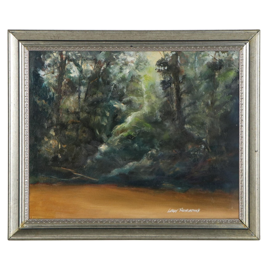 """Leigh Rodenbough Oil Painting """"Muddy River,"""" Late 20th Century"""
