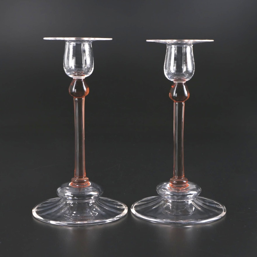 Steuben Rosa and Clear Swirl Art Glass Candlesticks, Early to Mid 20th Century
