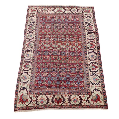 4'4 x 6'6 Hand-Knotted Persian Bijar Area Rug, 1950s
