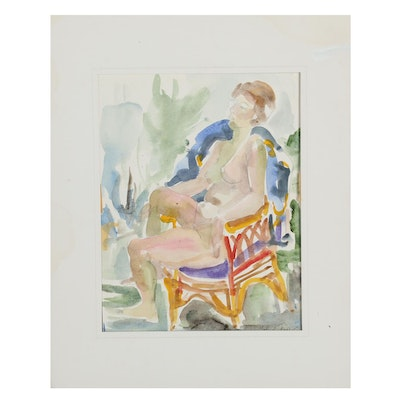 Yolanda Fusco Seated Female Nude Embellished Watercolor Painting