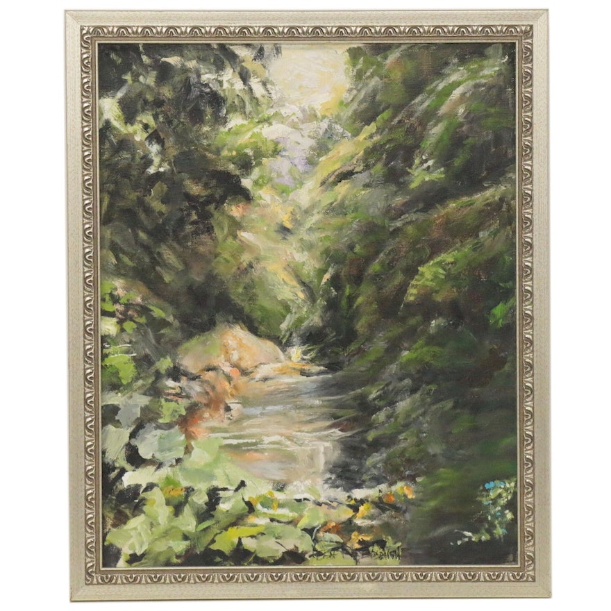 Leigh Rodenbough Landscape Oil Painting, Late 20th Century